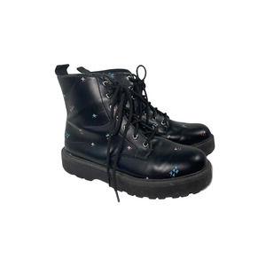 Zara Micro Floral Black Combat Boots 35